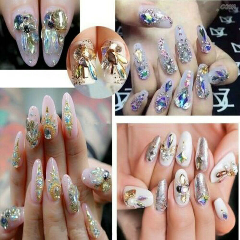 New Chic 10Pcs 3D Nail Art Glitter Decoration Colorful Alloy Rhinestones 3