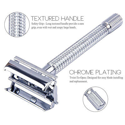 Men's Classic Traditional Double Edge Chrome Shaving Safety Razor With 5 Blades 2