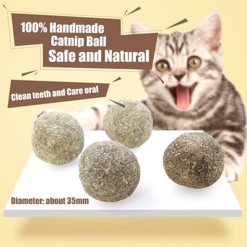 Cat Natural Catnip Ball Toys Kitten Treat Ball Cats Playing Cleaning Teeth Toy 2
