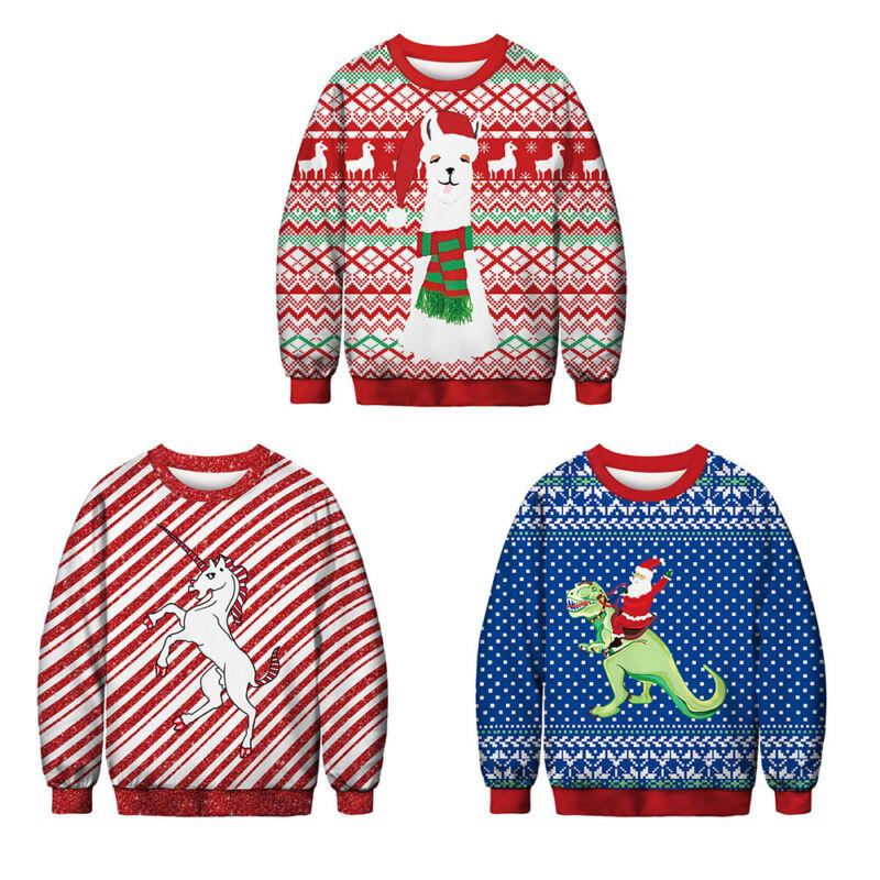 Unisex Ugly Christmas Sweater Santa Women Men Xmas Jumper Casual Sweatshirt Tops 10