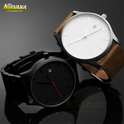 Men's Fashion Sport Stainless Steel Case Leather Band Quartz Analog Casual Watch 2
