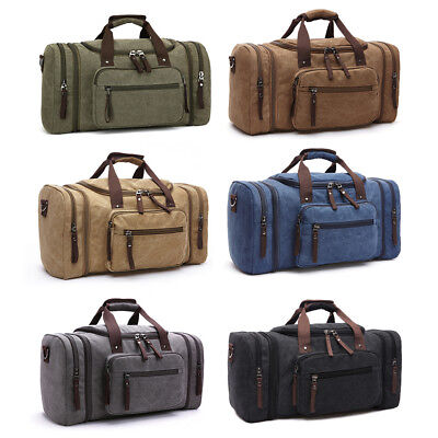 Canvas Travel Tote Luggage Large Men's Weekend Gym Shoulder Duffle Bag & Strap 2