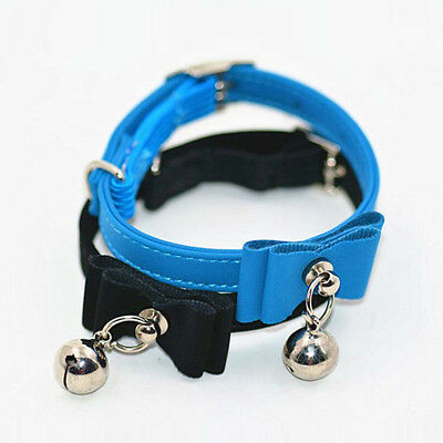 Small Pet Dog Cat Collar Leather Bow Tie With Bell Puppy Kitten Necktie Collar 12