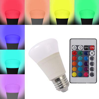 4Pcs 5W E27 RGB LED Leuchtmittel Birne Leuchte Lampe + Fernbedienung Farbwechsel