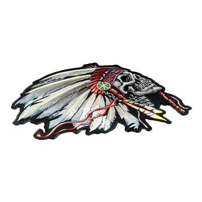 Feathered Indian Chief Skull Patch Native American Patches