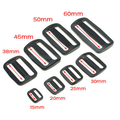 Plastic Slider Tri-Glide Adjust Buckles Backpack Straps Webbing 15mm~50mm Black 3