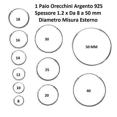 Orecchini Cerchietto Cerchio in Argento 925‰ Uomo-Donna Misure da 1.2x 8 A 50 mm 5