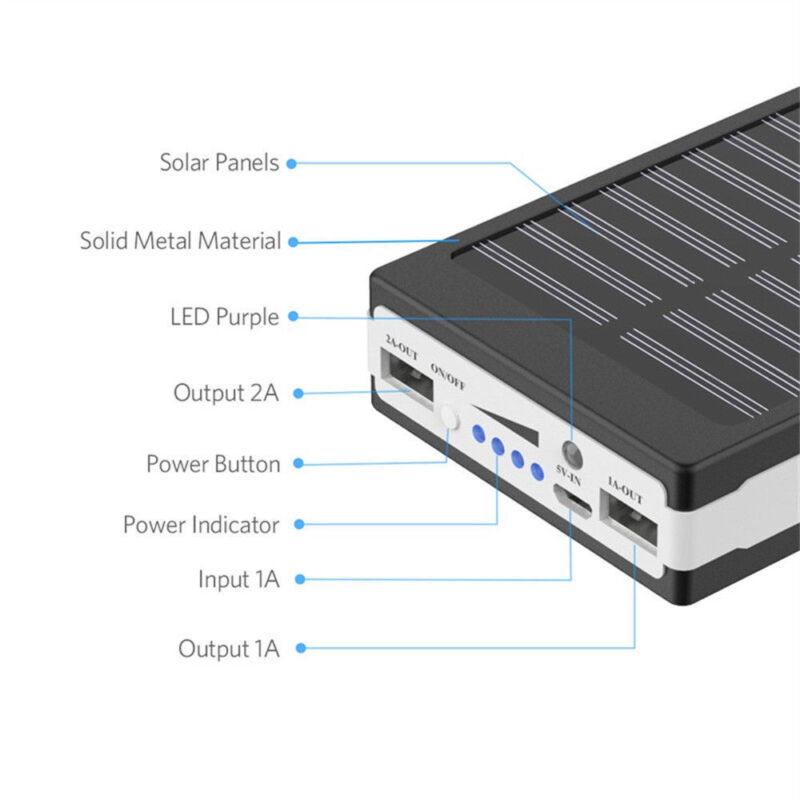 30000mAh Dual USB Portable Solar Battery Charger Power Bank For Cell Phone 10