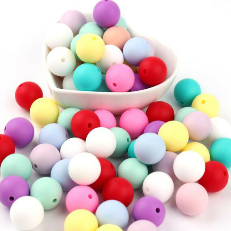 20X Silicone Teething Beads Round For Necklace Chews Pacifier Chain Clips Beads 4