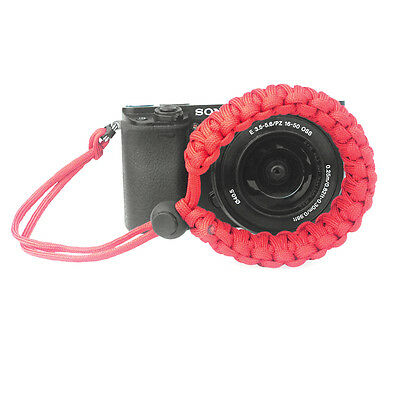Red Braided 550 Paracord Adjustable Camera Wrist Strap Bracelet 3