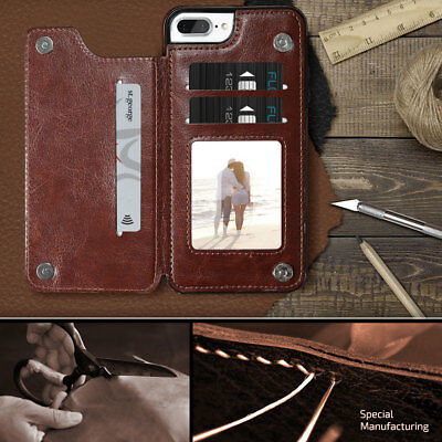 Apple iPhone X XS MAX 8 PLUS XR Case Flip Leather Wallet Card Shockproof Cover 2