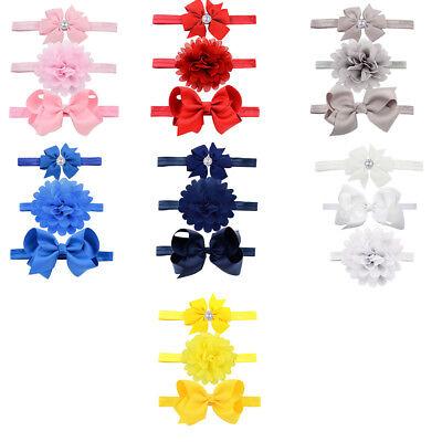 3pcs/Set Baby Girl Headband Ribbon Elastic Headdress Kids Hair Band Newborn Bow 3