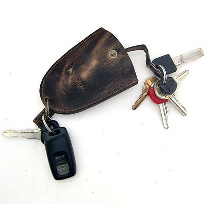EL BURRO rustico Leder Schlüsseltasche Schlüsseletui Schlüsselglocke braun