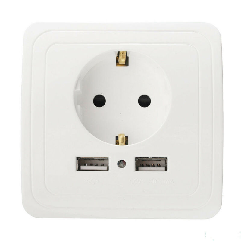 Dual USB Port Electric Wall Charger Switch Socket Power Adapter EU Plug Outlets 3