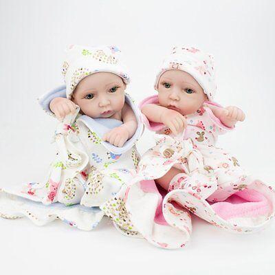 "Lifelike Twins Baby Dolls Full Vinyl Silicone Real Life Doll Babies Girl Boy 10"" 7"