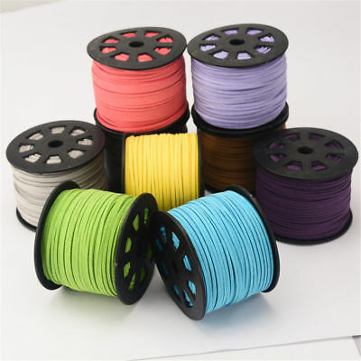 5mx 3mm wide Faux Suede Cord Lace Thread String Leather Jewellery Beading 3