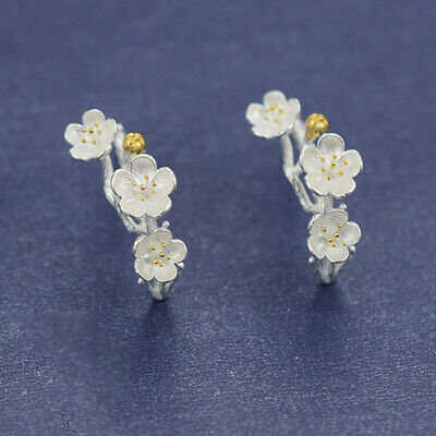 Solid 925 Sterling Silver Cherry Blossoms Flower Branch Line Stud Drop Earrings 2