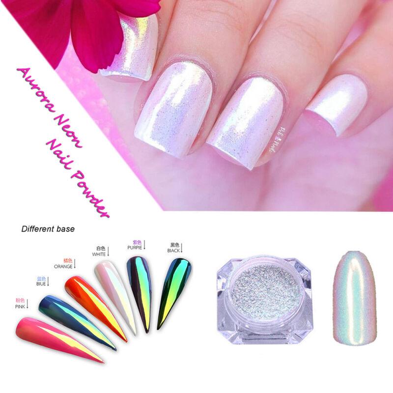 Color-Change Neon Aurora Mermaid Nail Art Glitter Powder Mirror Chrome Pigment 2