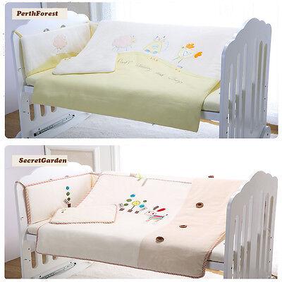 SALE! 7pcs Baby Crib Bedding set Bumpers Quilt Pillow Cot Sheet Organic Cotton