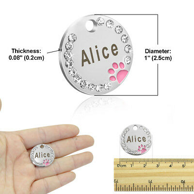 Personalized Dog Tags Paw Rhinestone Pet Cat ID Name Tag Engraved Free Hair Bows 8