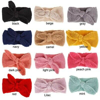 Knitted Baby Toddler Girls Kids Bow Knot Turban Headband HairBand Headwrap 0-3yr 5