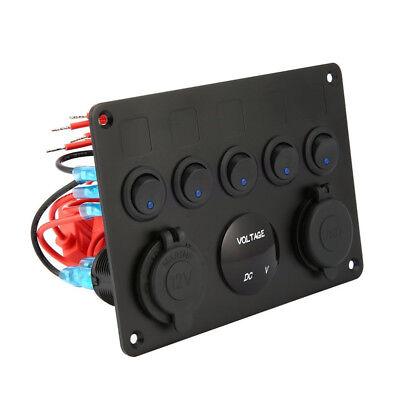 AU Switch Panel 12V USB ON-OFF Toggle 5 GANG Blue LED Rocker for Car Boat Marine 9