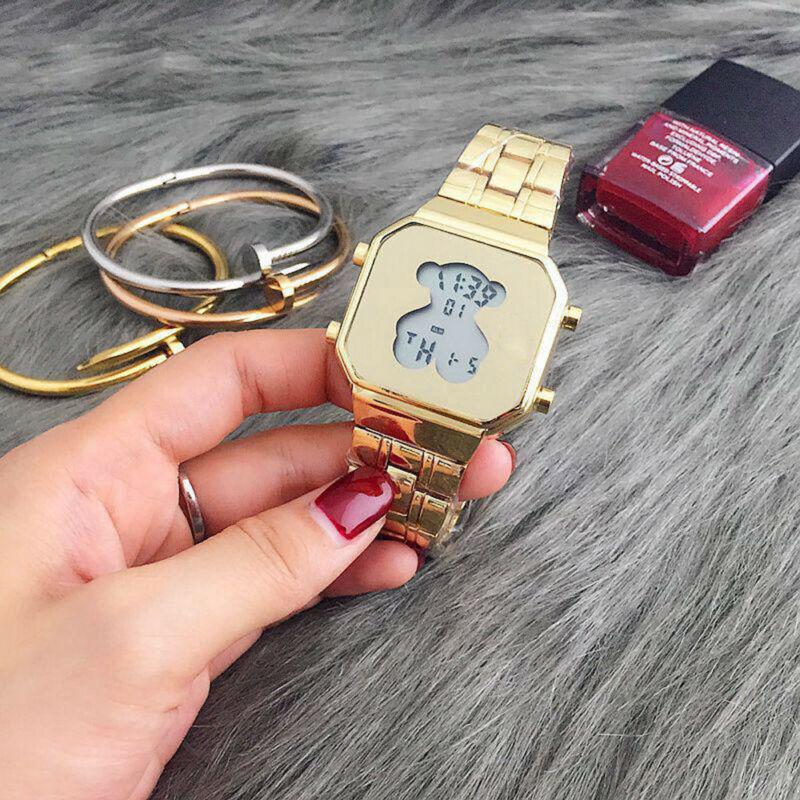 Men Women Bear Watch Digital Luxury Stainless Steel LED Cute Fashion Wristwatch 5