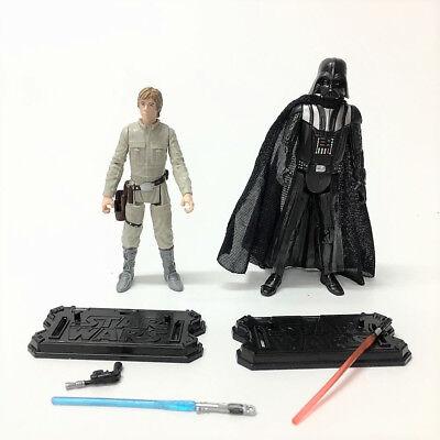 "Lot 2pcs Star Wars LUKE SKYWALKER & DARTH VADER 3.75"" Hasbro action figure toy 5"