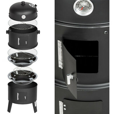 3in1 BBQ GRILL BARBECUE GRILLE WAGON CHARBON DE BOIS FUMOIR SMOKER 4