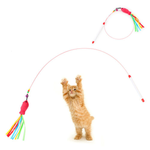 Funny Cat / Kitten Pet Teaser Fish Ribbon Wire Chaser Pet Toy Wand Beads Play 2