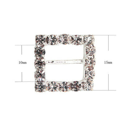 10 Circle, Heart, Or Square Diamante Rhinestone Crystal Buckle Ribbon Sliders 10