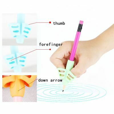 3x Two-finger Grip Silicone Baby Pencil Holder Learn Writing Tools Writing Pen 10