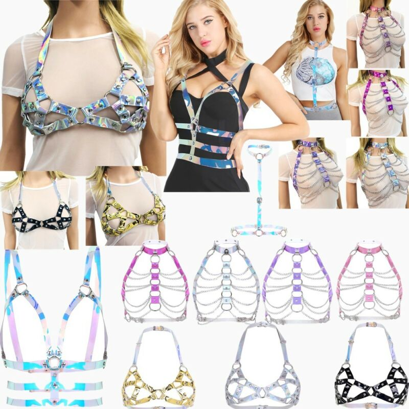 Sexy Women PVC Halter Body Chain Harness Metal Chest Belt Corset Bustier Costume 5