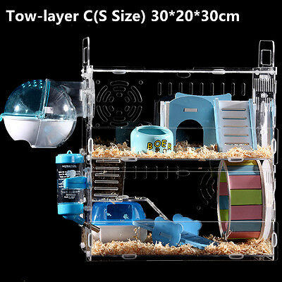 ... 1/2/3 Stroy Hamster Cage Castle Mouse Rabbit Habitat House Playpen Pets Supplies