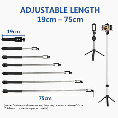 Unipod Selfie Stick Handheld Tripod Bluetooth Shutter For iPhone 11 Pro Samsung 6