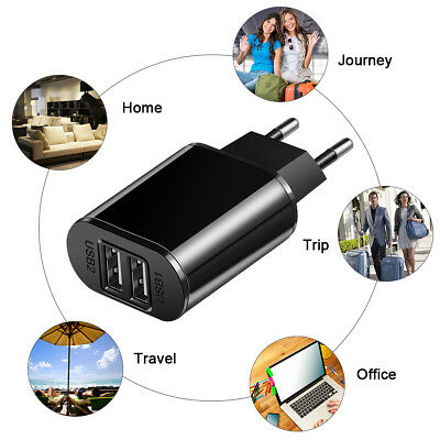 5V 2A EU Dual USB 2-Port Fast Charger Mobile Phone Wall Power Adapter For iPhone 3