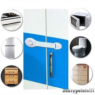 10X Child Adhesive Kid Baby Safety Drawer Door Lock Cupboard Cabinet Belt White 2