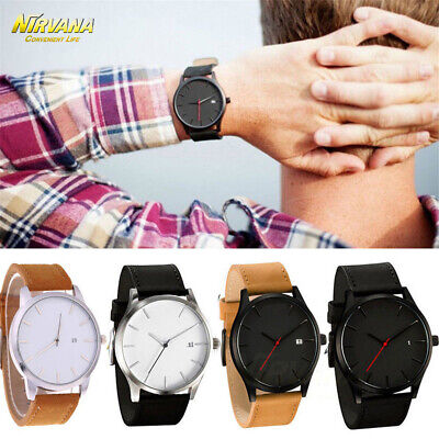 Men's Fashion Sport Stainless Steel Case Leather Band Quartz Analog Casual Watch 3