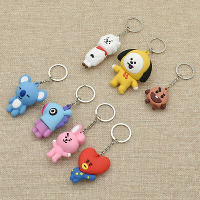 KPOP Bangtan Boys BTS BT21 Keychain Collection Keyring COOKY CHIMMY SHOOKY RJ BW
