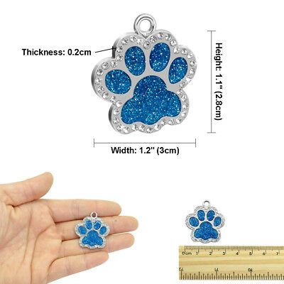 Bling Personalized Pet Dog Cat ID Tag Bone/Paw/Round Shape Collar Engraved Free 10