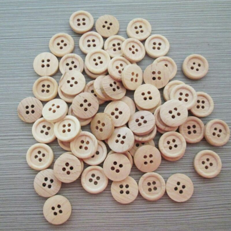 50pcs pattern Wood Buttons 4 Holes Sewing 15mm 18mm 25mm Craft Lots DIY 4