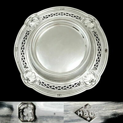 Antique French Sterling Silver Centerpiece Tazza Footed Tray Repousse Sea Shells 3