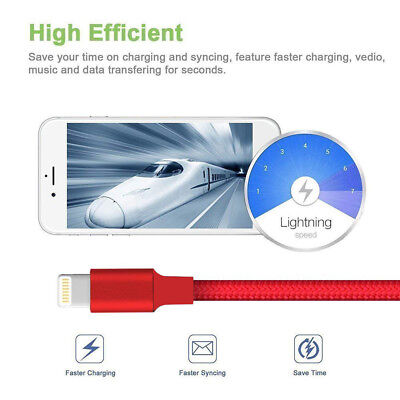 For iPhone 6 7 8 iPhone XS XR 5 Lightning Charger Cable Heavy Duty Charging Cord 6