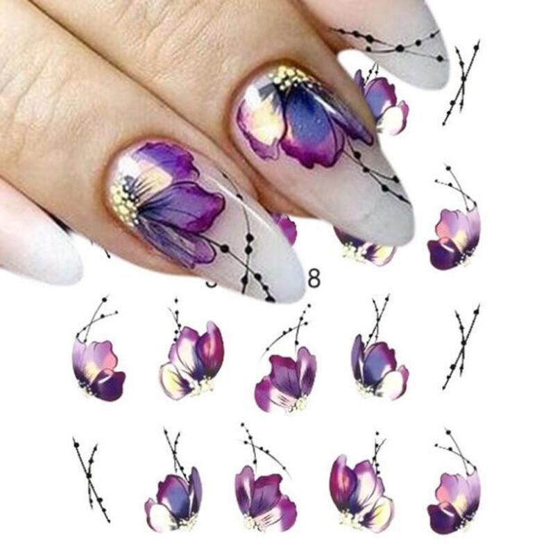Nail Art Sticker Flowers Butterfly Design Water Transfer Nail Art Decals Decor 2