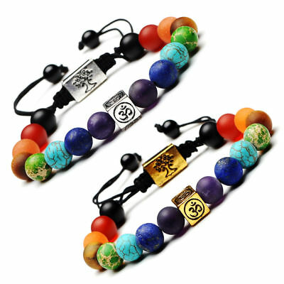 7 Chakra Yoga Natural Stone Beaded Cubic Tree Of Life&3D Charm Braided Bracelet 2