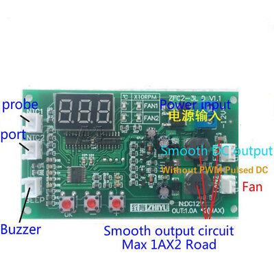 12V Dual Ways / PWM PC CPU Fan Digital Temperature Control Speed Controller UK 9