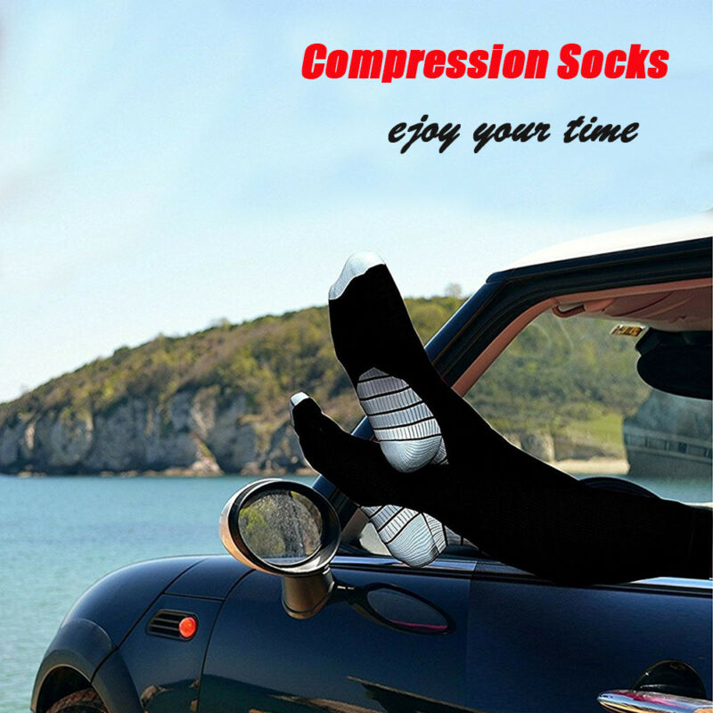 1-3 Pair Miracle Copper Compression Socks Anti Fatigue Unisex Travel DVT Comfort 10