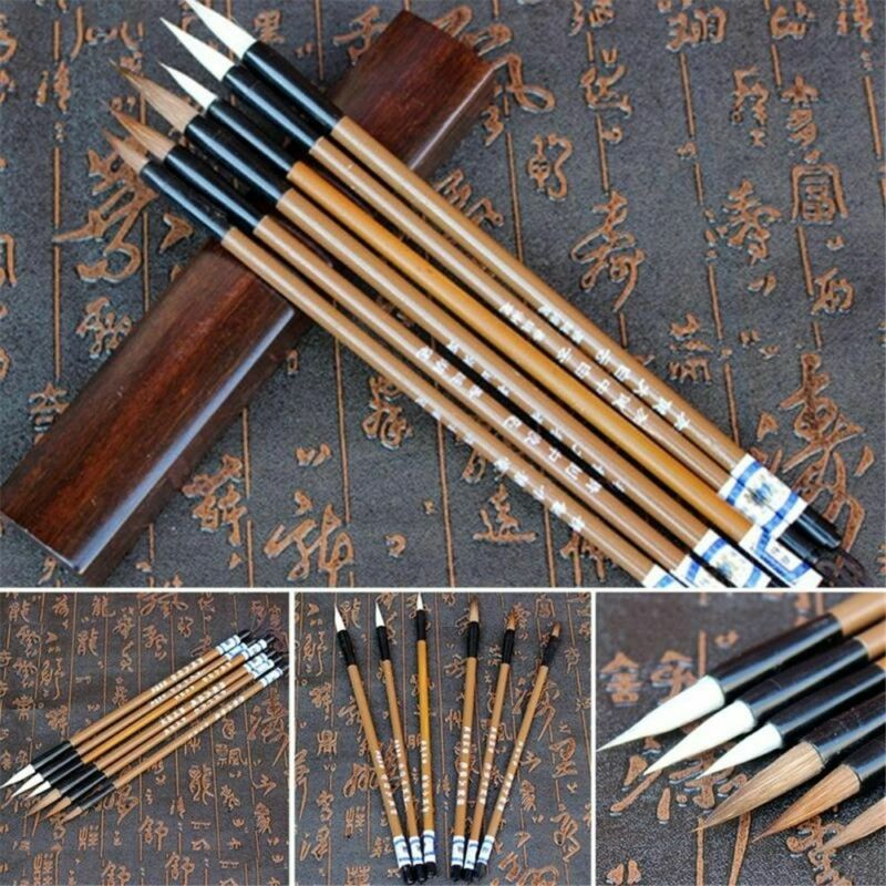 Traditional Chinese Calligraphy White Clouds Bamboo Wolf's Hair Writing Brush 2
