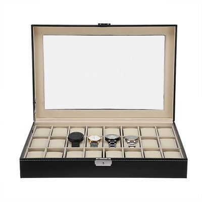 PU Présentoir à Montre Bijoux Etui de 6/10/12/24 Montres Boîte de Rangement 7