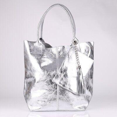 7be2efe7e4ff6 ... Metallic Quasten Kette Schulter Tasche Italy Leder Silber Shopper Borse  in Pelle 2